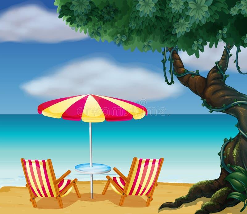 Зонтик пляжа нашивки и 2 стуль иллюстрация штока