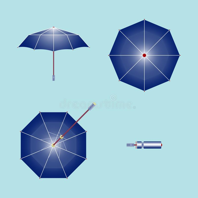 Зонтик Раскройте фронт, верхнюю часть, дно, и сложил бесплатная иллюстрация