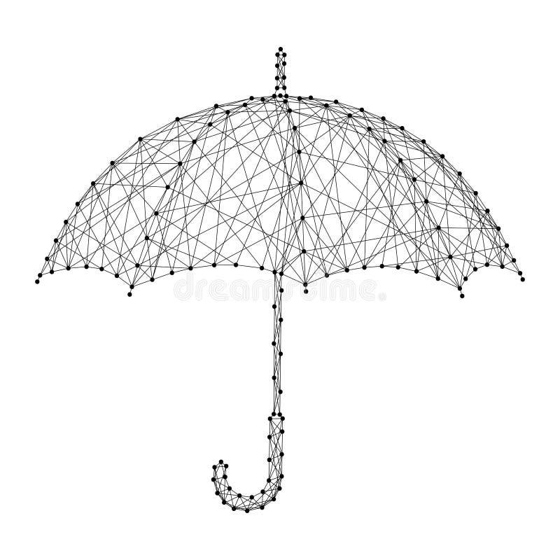 Зонтик раскрыл от дождя от полигонального конспекта футуристическое бесплатная иллюстрация