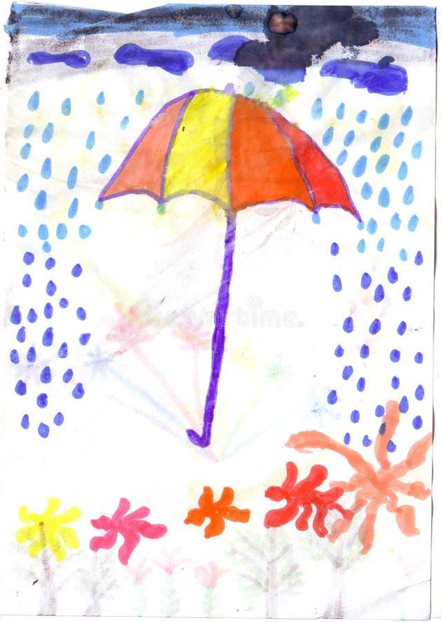 Зонтик ребенка рисуя в дожде бесплатная иллюстрация