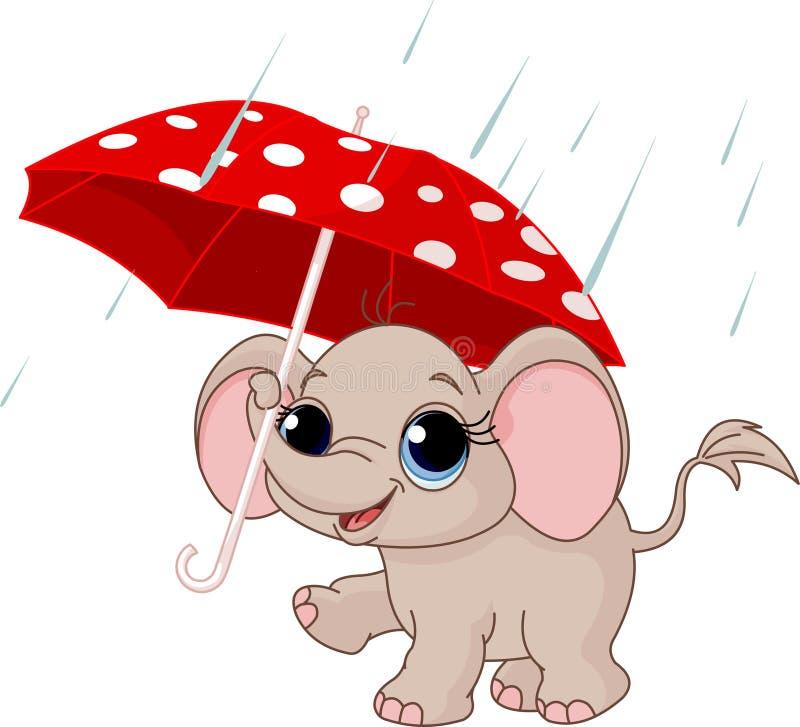 зонтик слона младенца милый вниз иллюстрация вектора