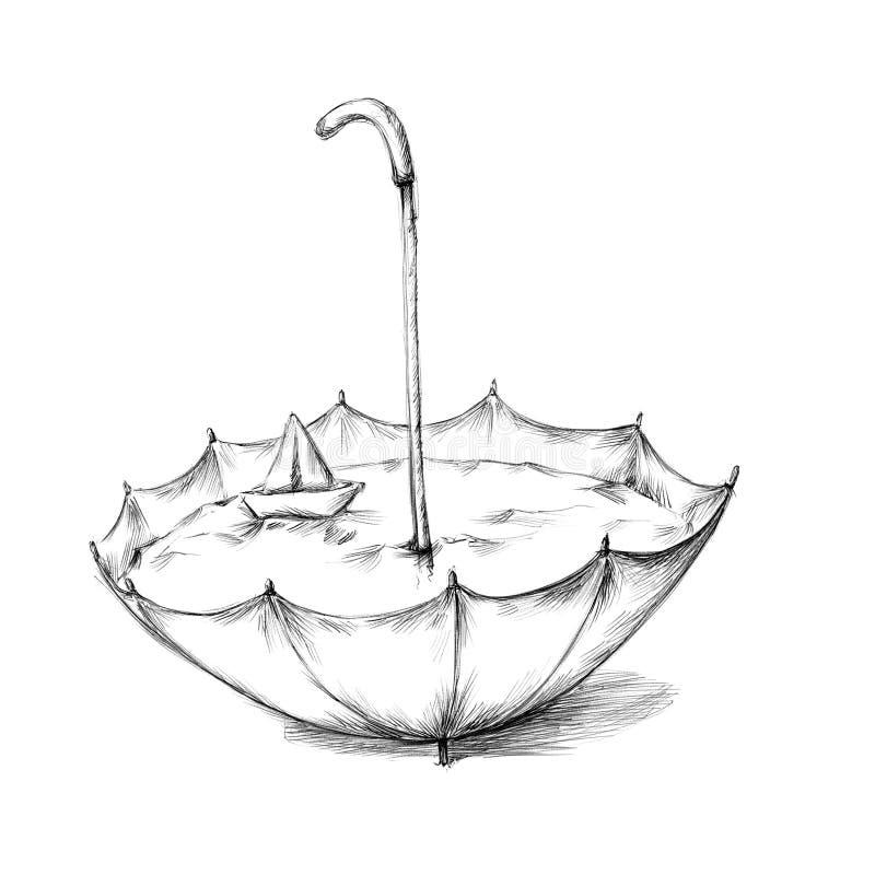 Зонтик со шлюпкой воды и бумаги иллюстрация вектора
