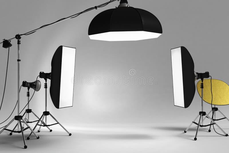 зонтик студии освещения вспышки оборудования 3d стоковые изображения rf