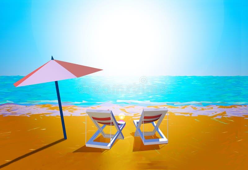 зонтик стулов пляжа иллюстрация вектора