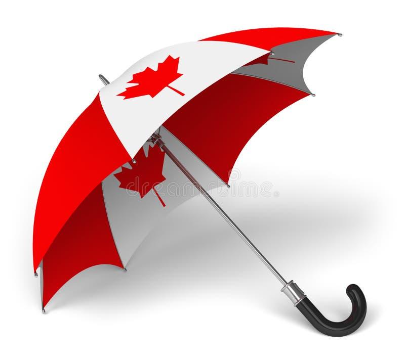 Зонтик с канадским национальным флагом иллюстрация штока