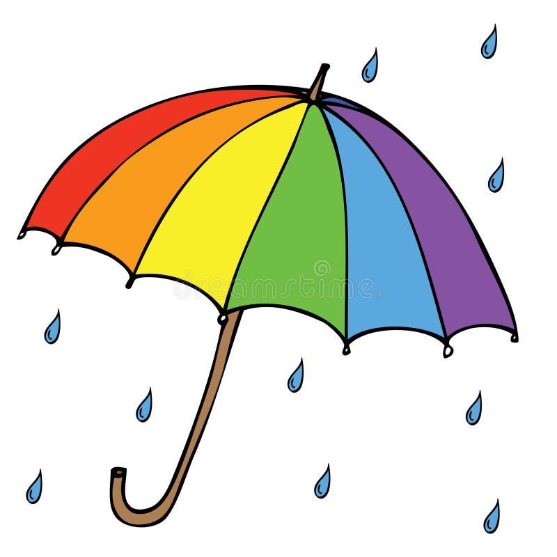 Зонтик с дождем иллюстрация штока