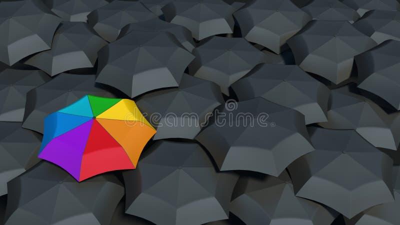 Зонтик с цветами радуги против черных зонтиков иллюстрация вектора