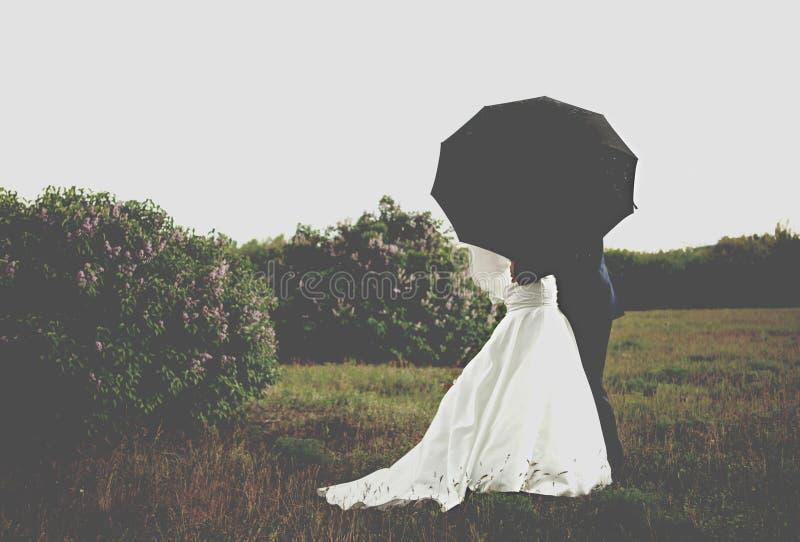 зонтик groom невесты вниз стоковые изображения rf