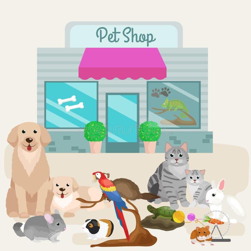 Зоомагазин, аксессуары и магазин ветеринара бесплатная иллюстрация