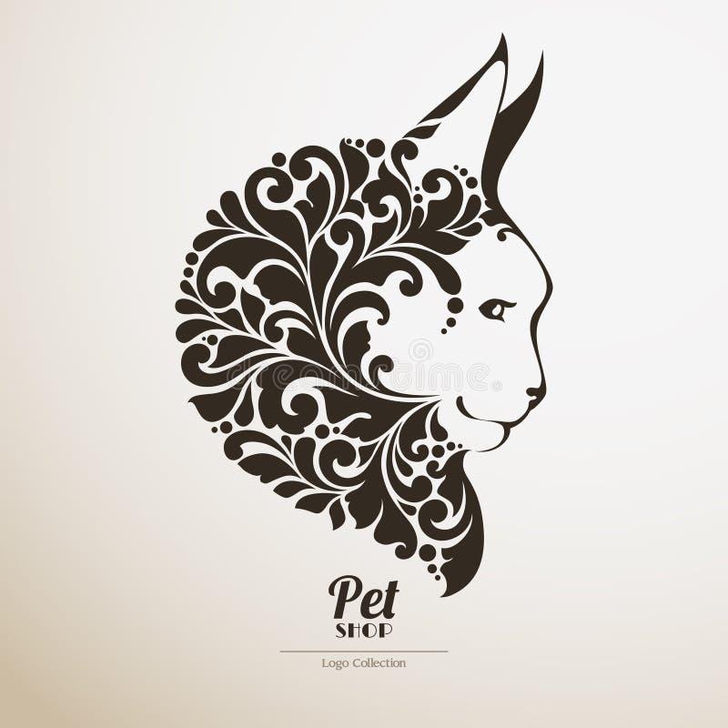 Зоомагазин логотипа Иллюстрация вектора енота Мейна богато украшенного значка кота декоративная иллюстрация вектора