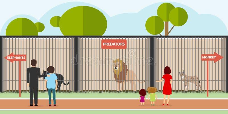 Зоопарк, хищники в клетках иллюстрация штока