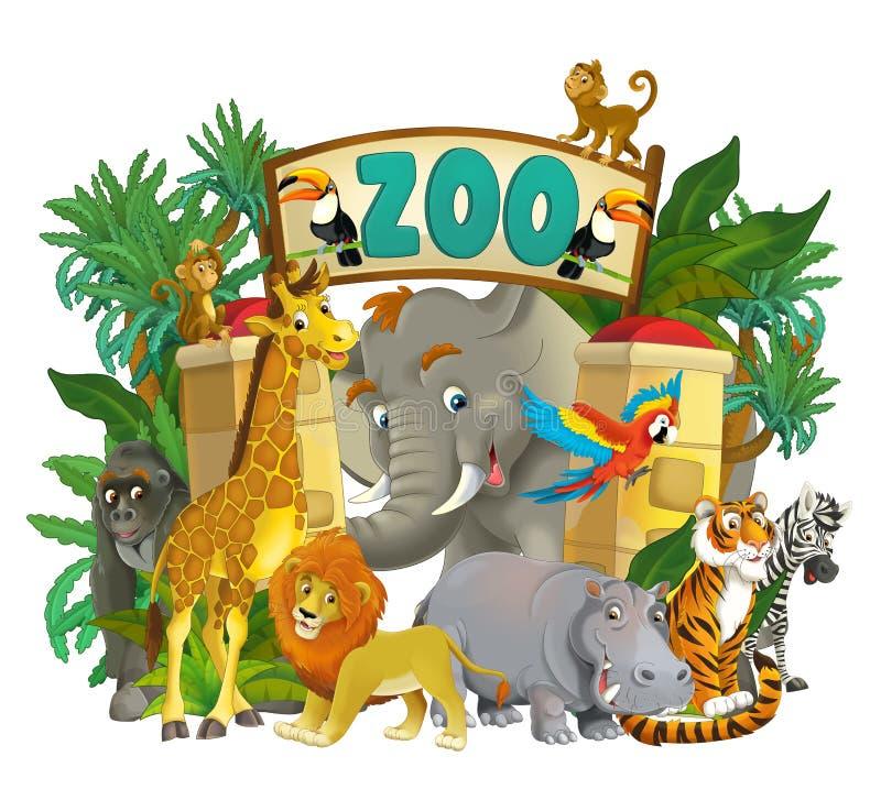Зоопарк шаржа - парк атракционов - иллюстрация для детей иллюстрация вектора