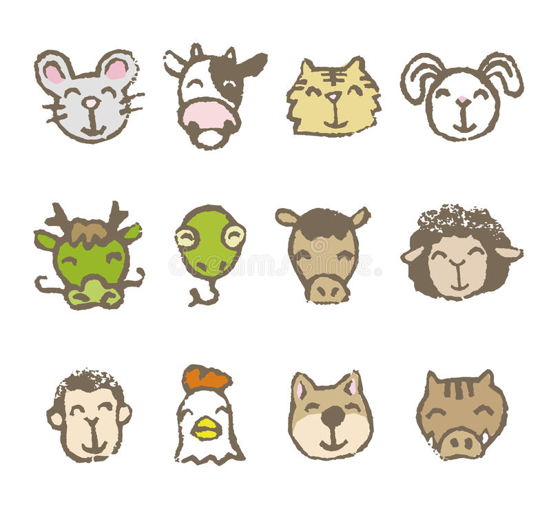 зодиак китайца 12 животных бесплатная иллюстрация
