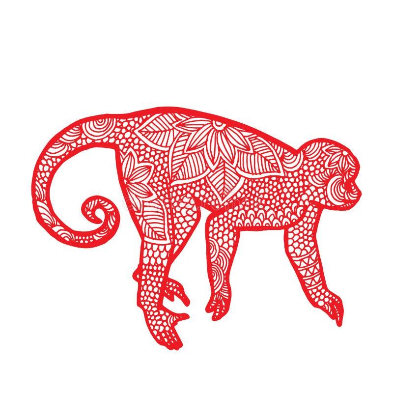 Зодиак китайца обезьяны иллюстрация штока