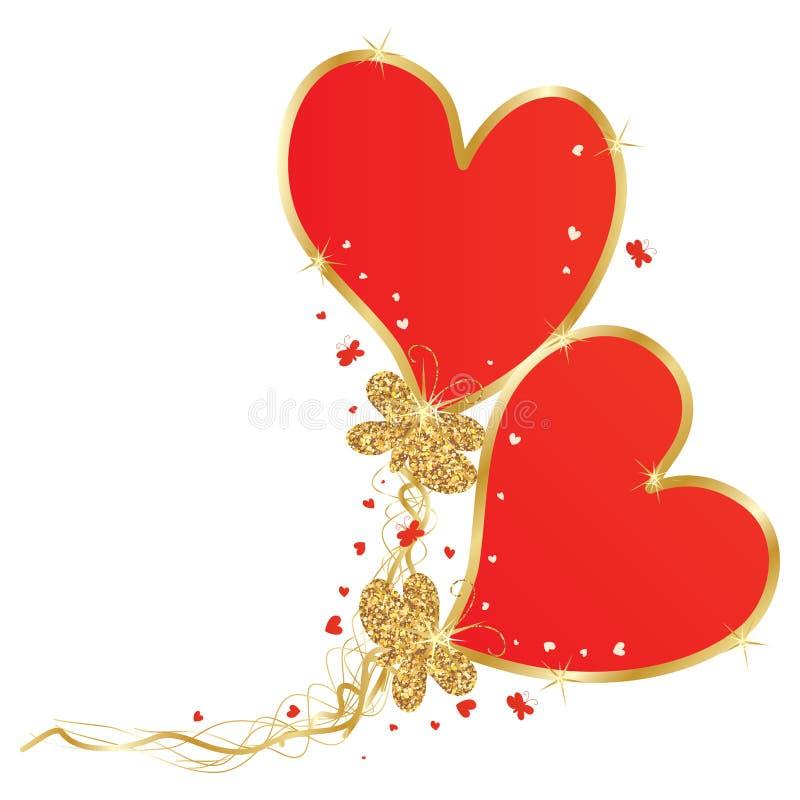 Золотая бабочка яркого блеска приносит знак мухы влюбленности иллюстрация штока