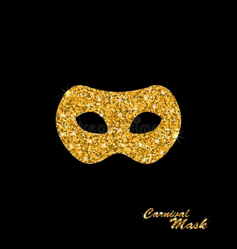 Золотая блестящая маска масленицы или театра иллюстрация вектора