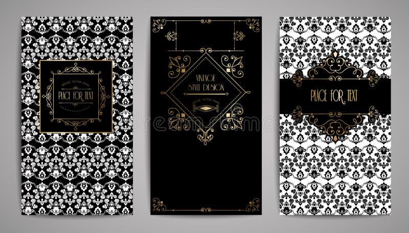 Золотая винтажная карточка Иллюстрация вектора для ретро дизайна Рамка золота элегантная Комплект ярлыка Роскошная предпосылка пр бесплатная иллюстрация