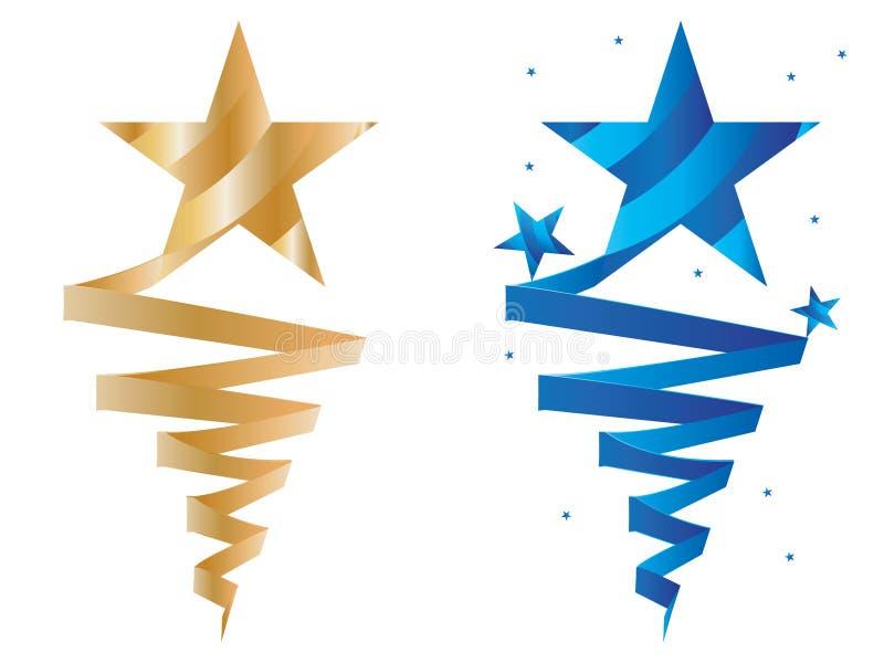 Золотая лента носки голубой звезды иллюстрация штока
