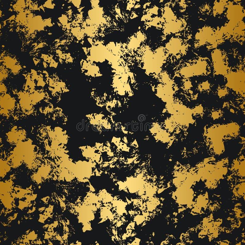 Золотая и черная безшовная картина абстрактная конструкция самомоднейшая иллюстрация вектора