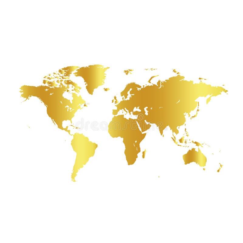 Золотая карта мира цвета на белой предпосылке Фон дизайна глобуса Обои элемента картоведения Географические положения иллюстрация вектора