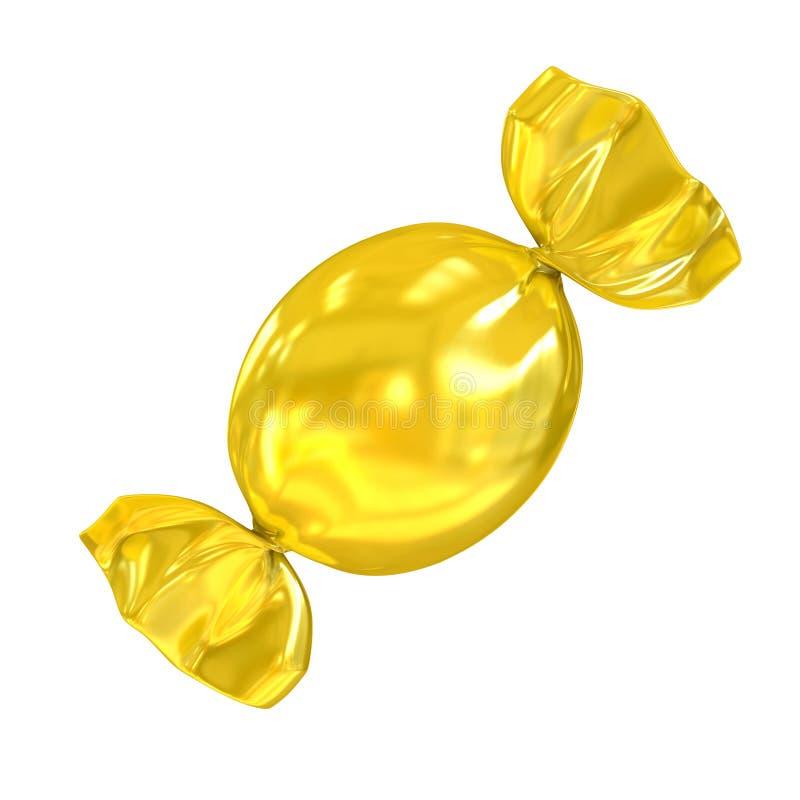 Золотая конфета изолированная на белой предпосылке иллюстрация вектора