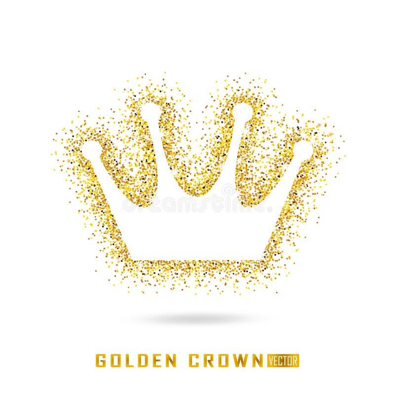 Золотая крона в искриться стиль Холодная текстура яркого блеска Золотое glo иллюстрация штока