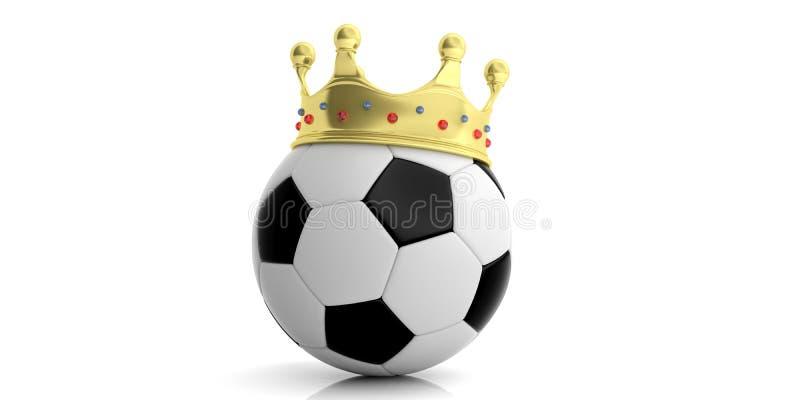 Золотая крона на футбольном мяче - белая предпосылка иллюстрация 3d иллюстрация вектора
