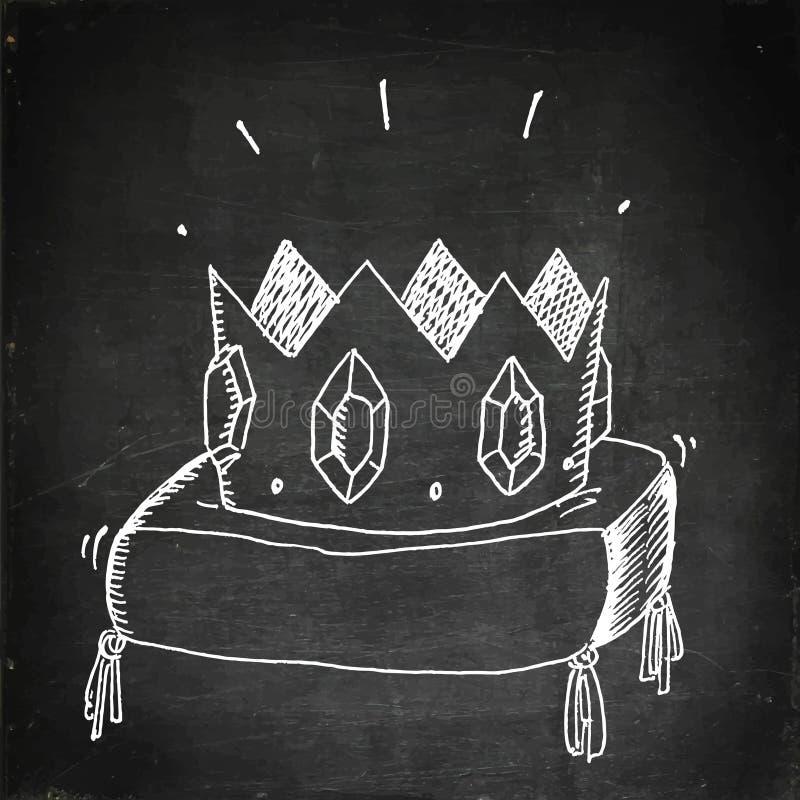 Золотая крона с драгоценностями иллюстрация штока