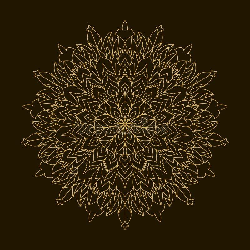 Золотая мандала Орнамент циркуляра шаблона иллюстрация штока