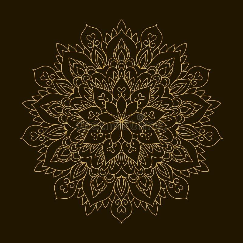 Золотая мандала Орнамент циркуляра шаблона бесплатная иллюстрация