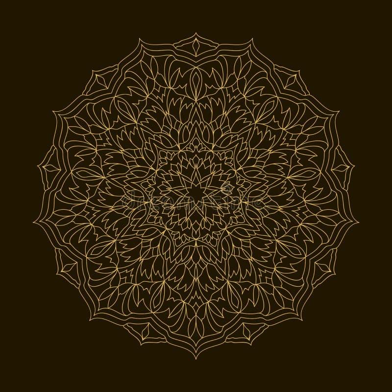 Золотая мандала Орнамент циркуляра шаблона иллюстрация вектора