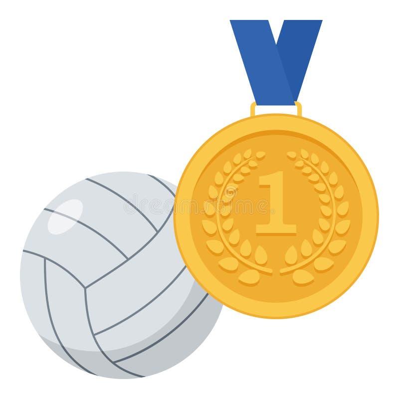 Золотая медаль и значок шарика волейбола плоский иллюстрация штока