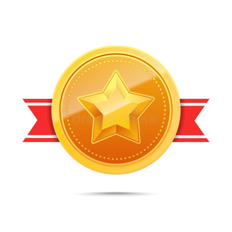 золотая медаль 3D и красная лента иллюстрация штока