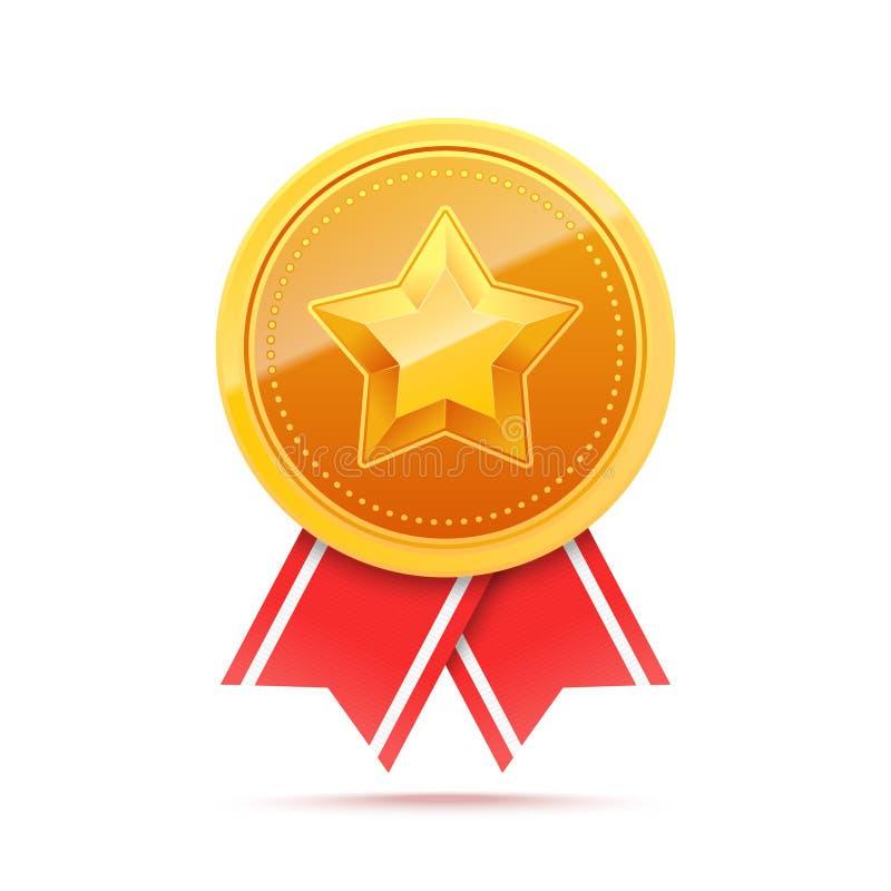 золотая медаль 3D с звездой и красной лентой иллюстрация вектора