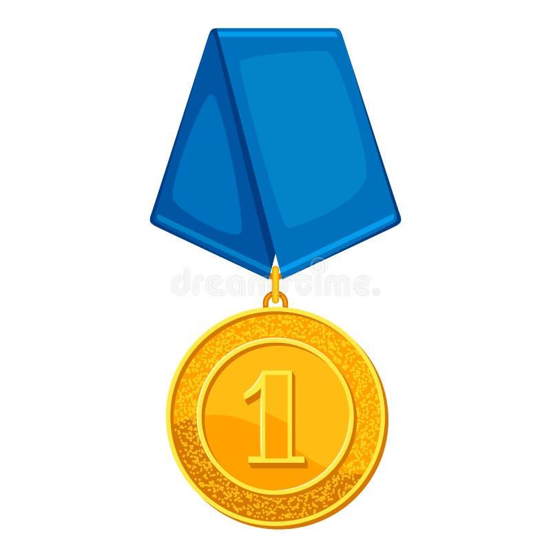 Золотая медаль Realictic с голубой лентой Иллюстрация награды для спорт или корпоративных конкуренций иллюстрация вектора