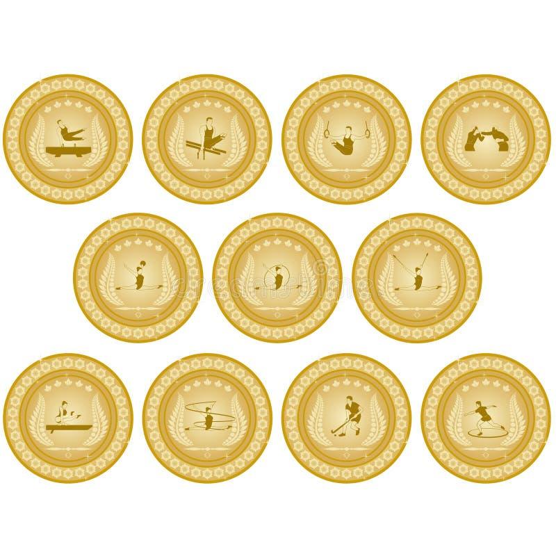 Золотая медаль sport-1 иллюстрация штока