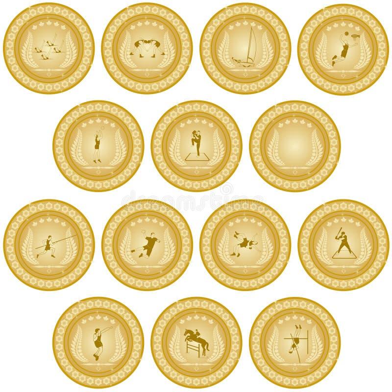 Золотая медаль sport-4 иллюстрация штока
