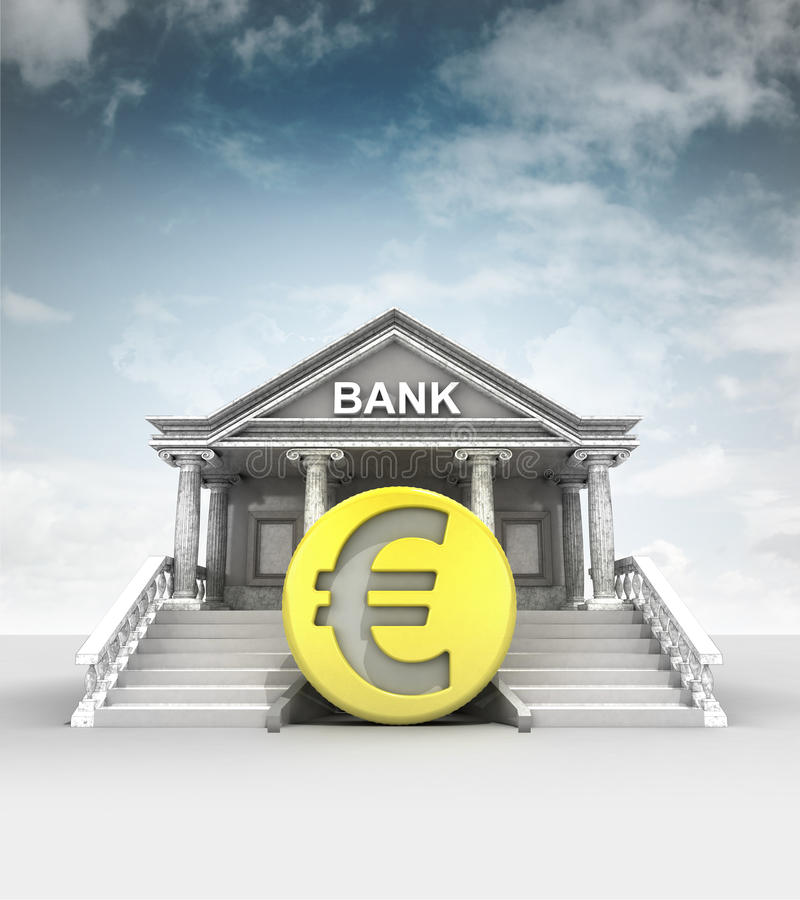 Золотая монетка евро перед банком в классическом стиле с небом иллюстрация штока