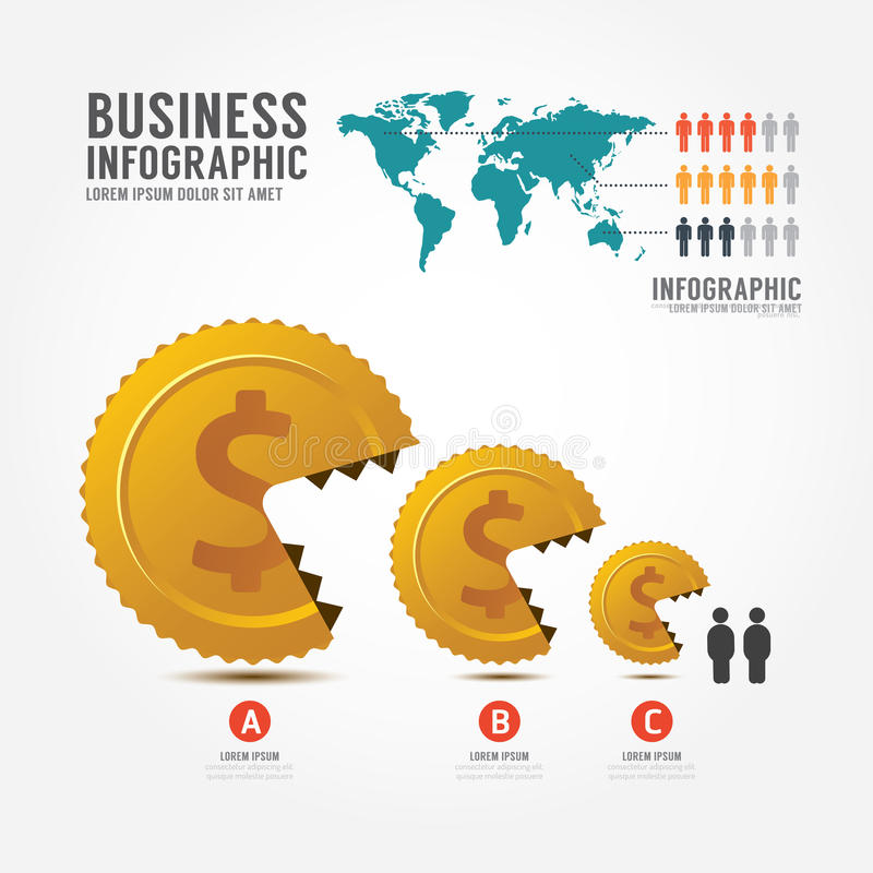 Золотая монетка денег и вектора Infographics Дело ест меньшее busi иллюстрация вектора