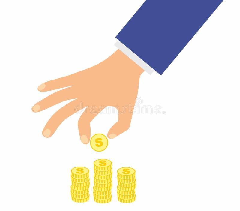 Золотая монетка и стога владением руки бизнесмена с монетками на белой предпосылке vector иллюстрация в плоском дизайне бесплатная иллюстрация