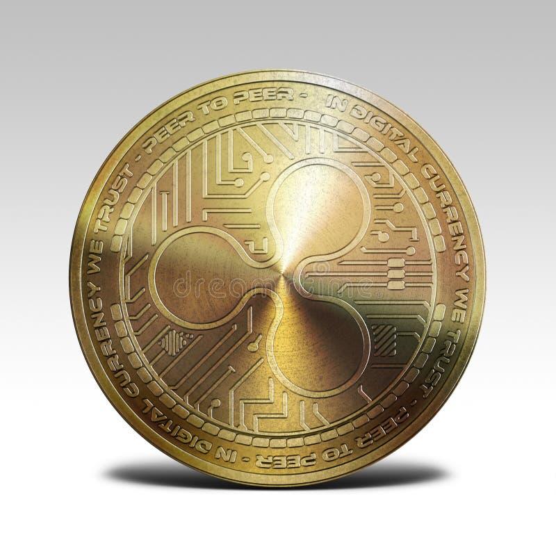 Золотая монетка пульсации изолированная на белом переводе предпосылки 3d стоковое фото rf