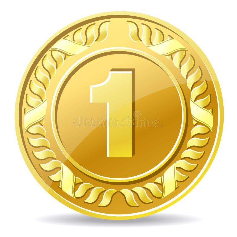 Золотая монетка иллюстрация вектора