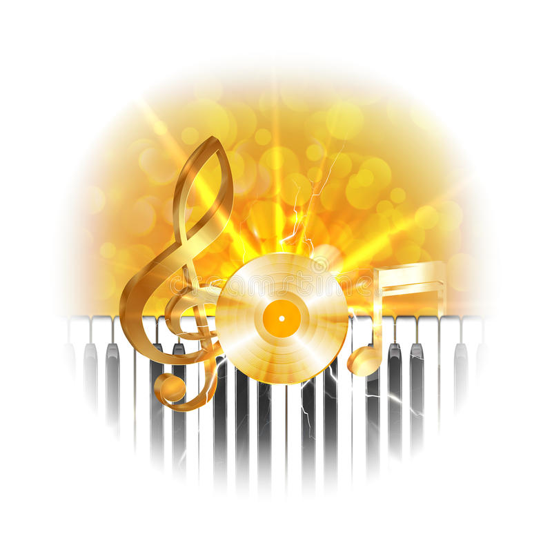 Золотая музыкальная плита винила с ключами дискантового ключа и рояля, вспышкой бесплатная иллюстрация