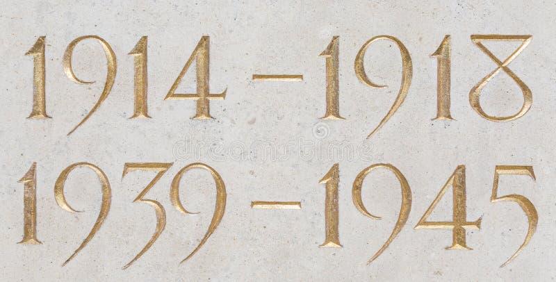 Золотая надпись лет 2 мировых войн стоковые фотографии rf