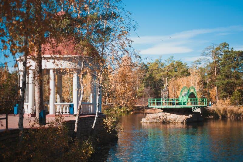 Золотая осень в парке культуры и остатков стоковая фотография rf