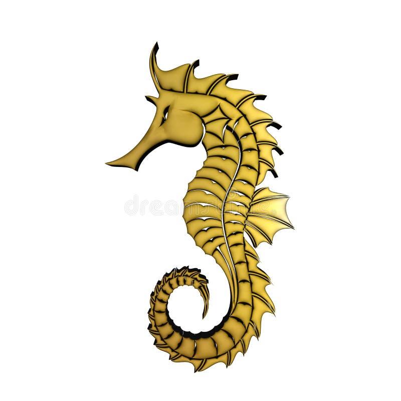 золотая лошадь моря 3D иллюстрация вектора