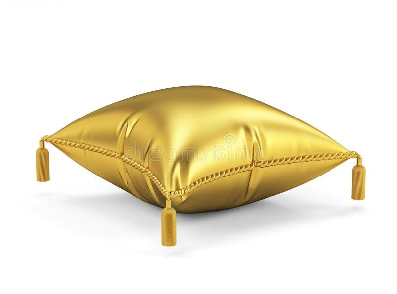 Золотая подушка изолированная на белой предпосылке иллюстрация вектора