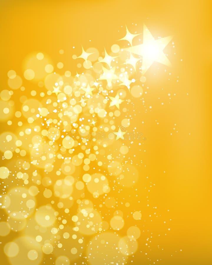 Золотая предпосылка звезды иллюстрация штока