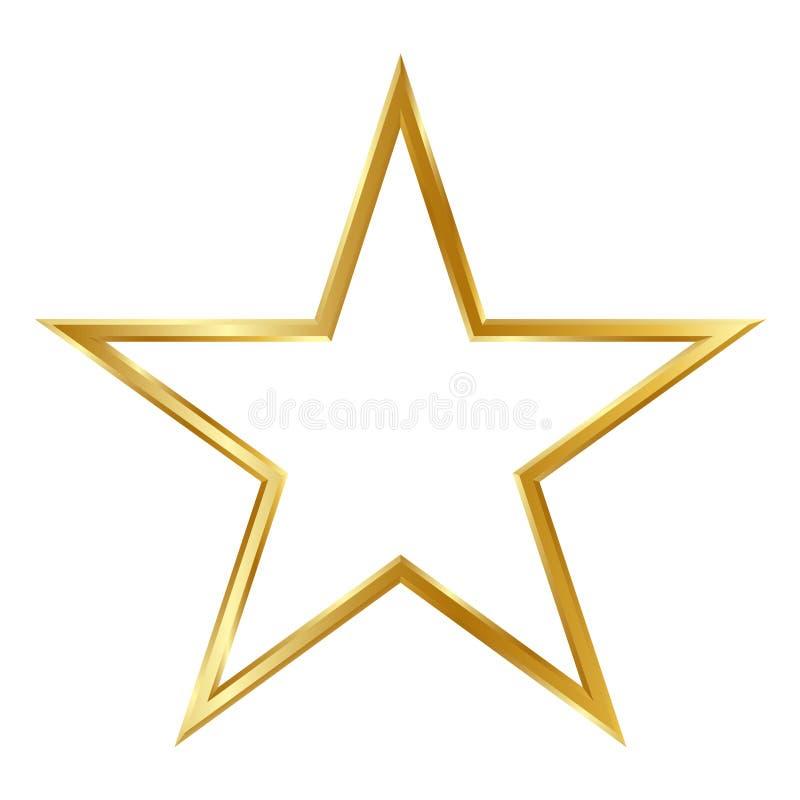 Золотая простая рамка звезды 3D изолированная на белой предпосылке иллюстрация штока