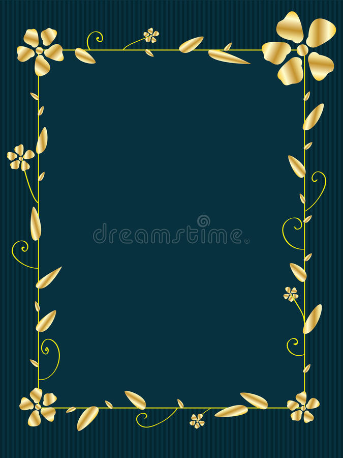 Золотая рамка квадрата цветка иллюстрация вектора